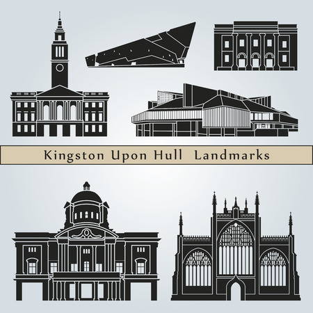 kingston: Kingston Upon Hull landmarks and monuments isolated on blue background in editable vector file