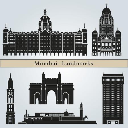 india city: Punti di riferimento e monumenti Mumbai isolato su sfondo blu in file vettoriali modificabili Vettoriali