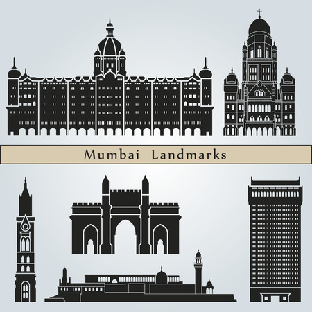 Puntos de interés y monumentos de Mumbai aislados sobre fondo azul en el archivo vectorial editable