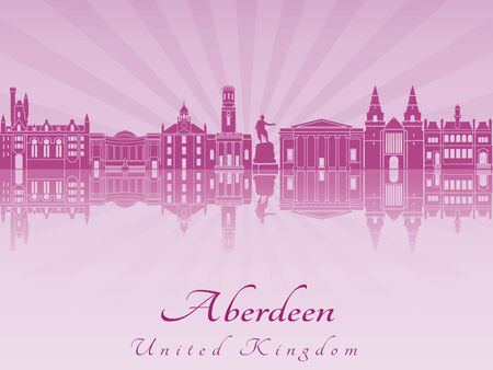 aberdeen: Aberdeen skyline radiant in purple orchid in editable vector file