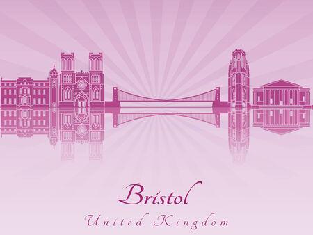 bristol: Bristol skyline radiant in purple orchid in editable vector file
