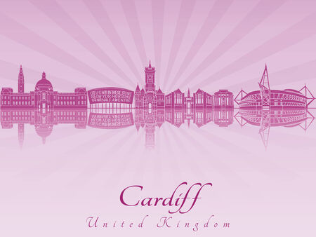 radiant: Cardiff skyline radiant in purple orchid in editable vector file