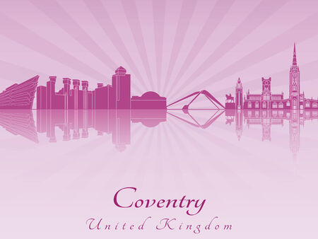 Coventry skyline radiant in purple orchid in editable vector file