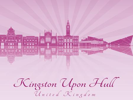 kingston: Kingston Upon Hull skyline radiant in purple orchid in editable vector file