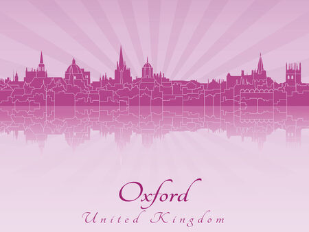 oxford: Oxford skyline radiant in purple orchid in editable vector file