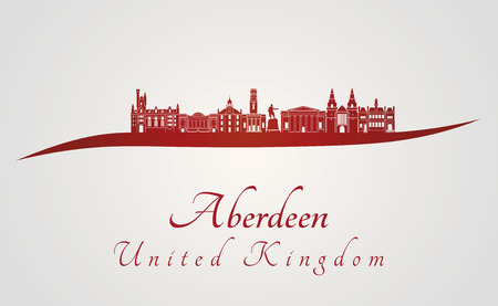 aberdeen: Aberdeen skyline in red and gray background in editable vector file