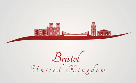 bristol: Bristol skyline in red and gray background in editable vector file