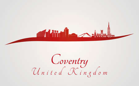 Coventry skyline in red and gray background in editable vector file Illustration