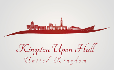 kingston: Kingston Upon Hull skyline in red and gray background in editable vector file