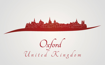 oxford: Oxford skyline in red and gray background in editable vector file Illustration
