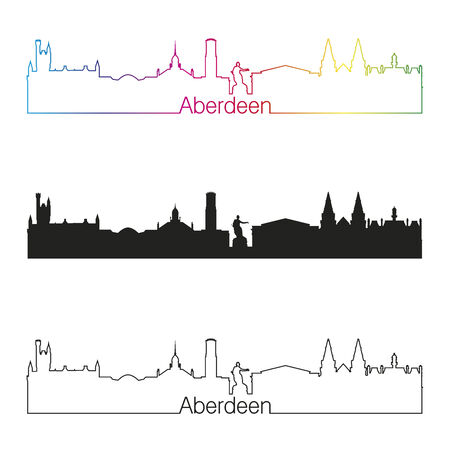 aberdeen: Aberdeen linear style skyline with rainbow in editable vector file
