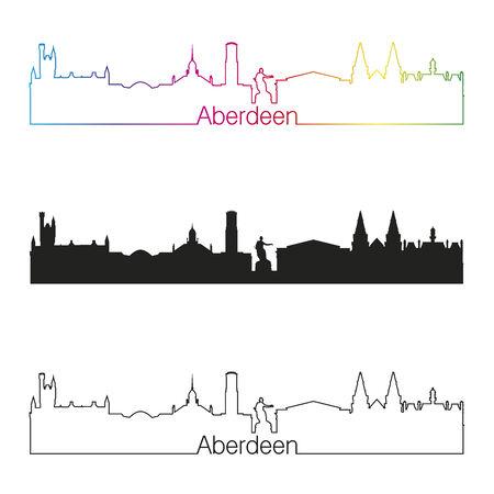 Aberdeen linear style skyline with rainbow in editable vector file