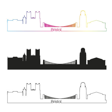 bristol: Bristol linear style skyline with rainbow in editable vector file