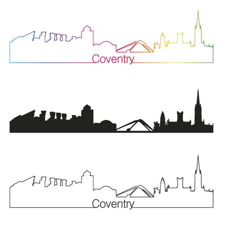 Coventry linear style skyline with rainbow in editable vector file