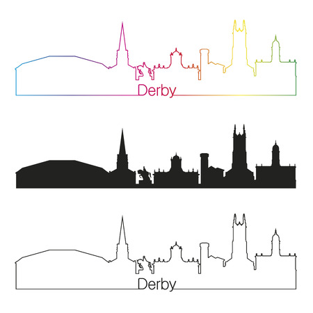 Derby linear style skyline with rainbow in editable vector file Illustration