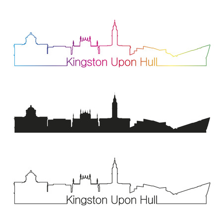 kingston: Derby linear style skyline with rainbow in editable vector file Illustration