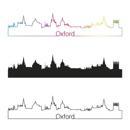 oxford: Oxford linear style skyline with rainbow in editable vector file