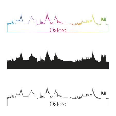 Oxford linear style skyline with rainbow in editable vector file