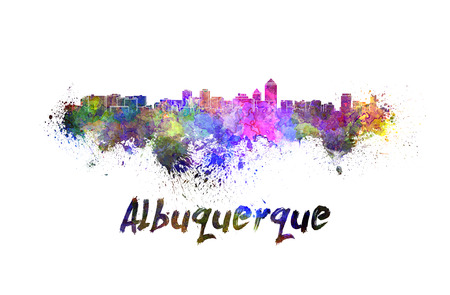 albuquerque: Albuquerque skyline in watercolor splatters