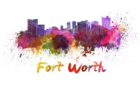 fort worth: Fort Worth skyline in watercolor splatters with clipping path