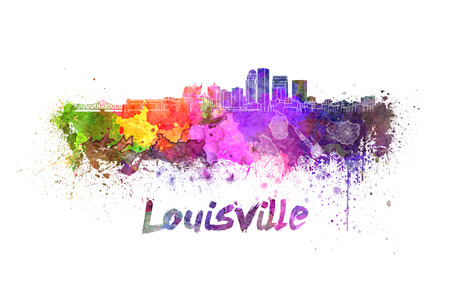 kentucky: Louisville skyline in watercolor splatters with clipping path