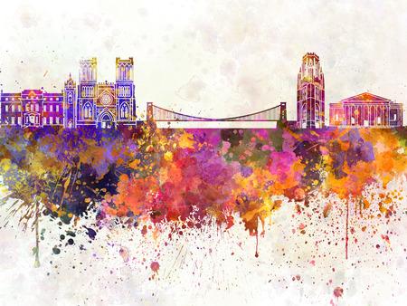 bristol: Bristol skyline in watercolor background