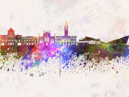 kingston: Kingston Upon Hull watercolor skyline in background