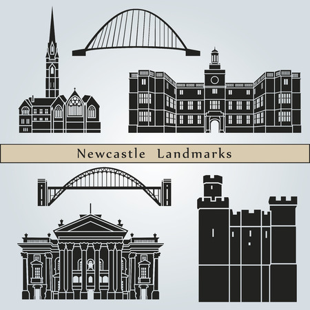 Newcastle landmarks and monuments isolated on blue background in editable vector file