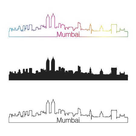 mumbai: Mumbai skyline with rainbow linear style in editable vector file
