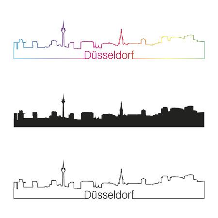 編集可能なベクトル ファイルで虹とデュッセルドルフ線形スタイル スカイライン