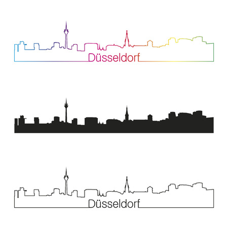 Dusseldorf linear style skyline with rainbow in editable vector file