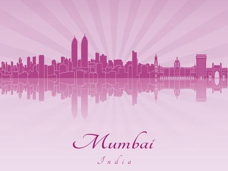 mumbai: Mumbai skyline radiant in purple orchid in editable vector file
