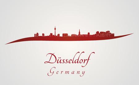 編集可能なベクトル ファイルの赤と灰色の背景でデュッセルドルフのスカイライン