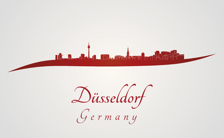 Dusseldorf skyline in red and gray background in editable vector file
