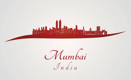Mumbai skyline in red and gray background in editable vector file