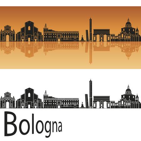 編集可能なベクトル ファイルでオレンジ色の背景のボローニャのスカイライン  イラスト・ベクター素材