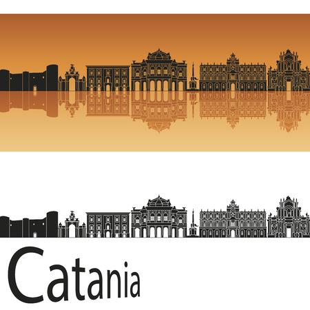 Catania skyline in orange background in editable vector file