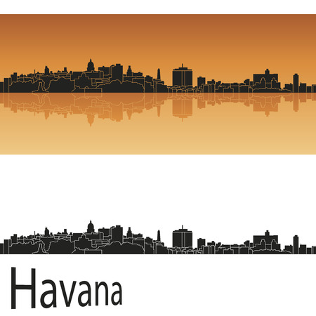 havana: Havana skyline in orange background in editable vector file Illustration
