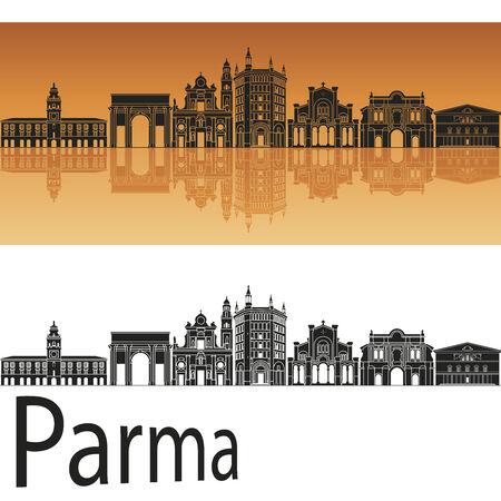 Parma skyline in orange background in editable vector file