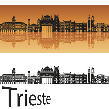 Trieste skyline in orange background in editable vector file Ilustrace