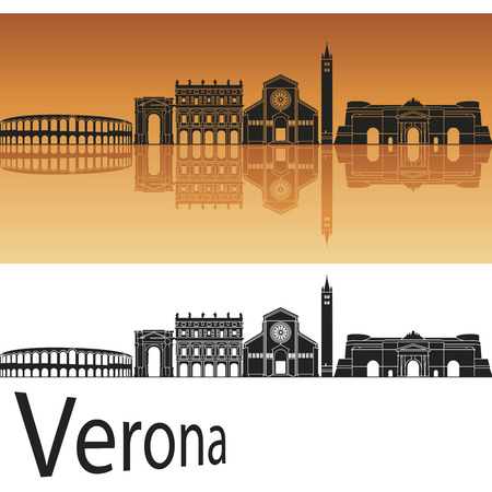 編集可能なベクトル ファイルでオレンジ色の背景のヴェローナのスカイライン