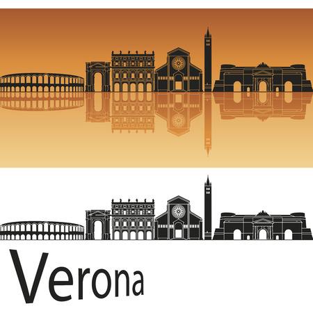 verona: Verona skyline in orange background in editable vector file