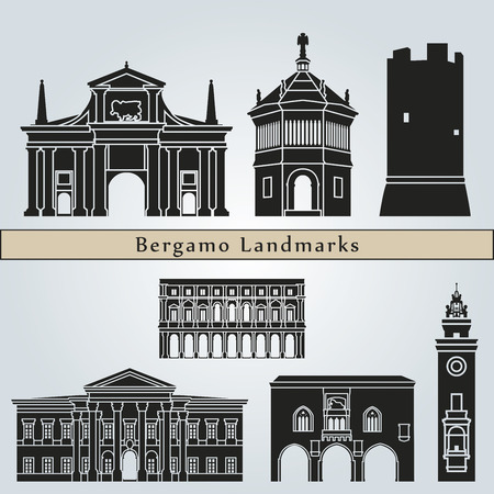 Bergamo landmarks and monuments isolated on blue background in editable vector file
