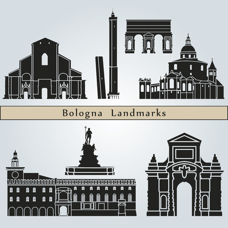 bologna: Bologna landmarks and monuments isolated on blue background in editable vector file