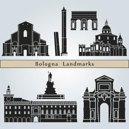 Lugares y monumentos Bolonia aislados en fondo azul en el archivo vectorial editable Vectores