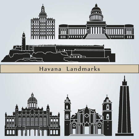 havana cuba: Havana landmarks and monuments isolated on blue background in editable vector file
