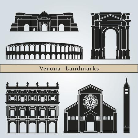 ヴェローナのランドマークやモニュメントを編集可能なベクトル ファイルに青色の背景に分離