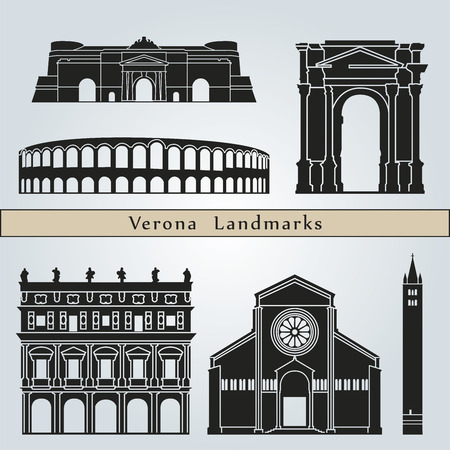 Verona landmarks and monuments isolated on blue background in editable vector file Ilustracja