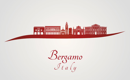Bergamo skyline in red and gray background in editable vector file Иллюстрация