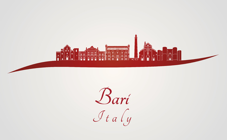 Bari skyline in red and gray background in editable vector file